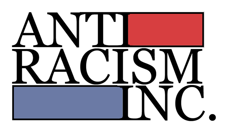 Logo that reads ANTI RACISM INC in three horizontal bars. The top bar is detailed in red, the middle is white, and the bottom has blue details.