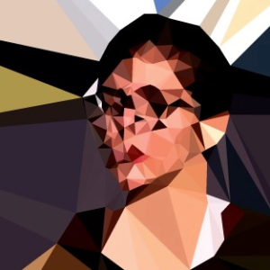 An image of a white woman with dark hair that has been digitally distorted into polygon shards.