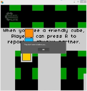 "Three squares on a colored maze. In the background is written ""When you see a friendly cube, Player B can press R to report an abusive partner. On top of this screenshot is a command prompt that reads ""They don't seem to believe you..."""