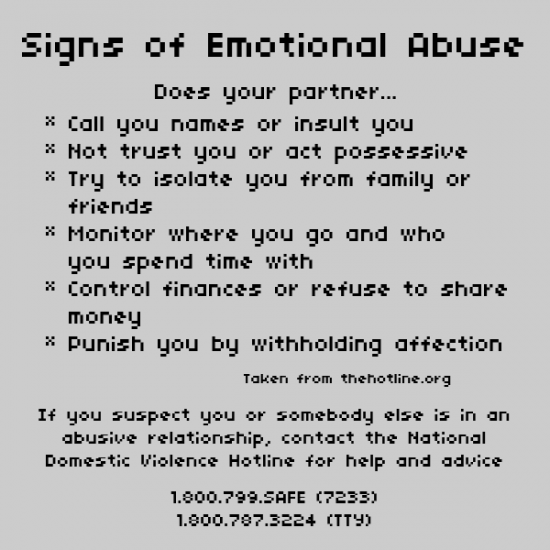 Signs of emotional dating abuse