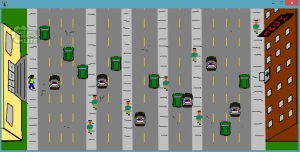In pixelated style, several streets run vertically across the screen, with sidewalks in between. There are green cars and police cruisers in the some of the lanes and white men on the sidewalks. A nonwhite woman waits on the left side of the screen waiting to cross.