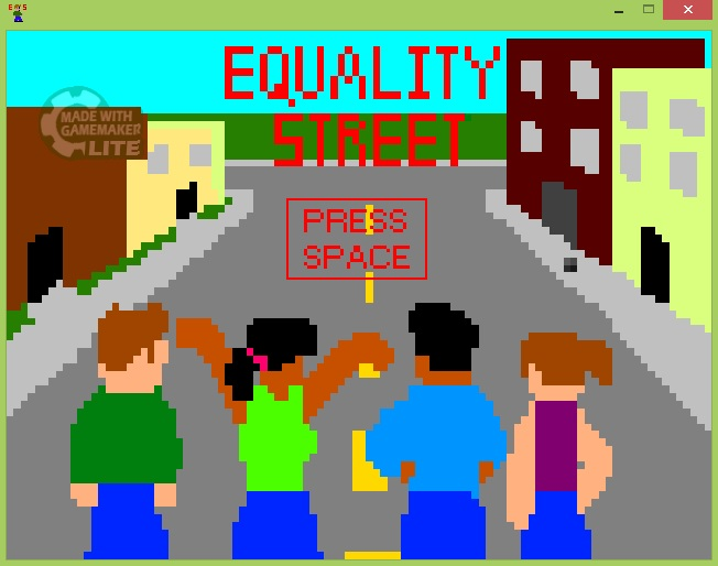 "In pixelated style, four people standing in the middle of a street lined with buildings. Their backs are facing the screen and all are wearing blue pants. From left to right: a white person with short hair and green shirt, a nonwhite person with a black ponytail and green tank top, a nonwhite person with short black hair and long blue shirt, and a white person with a brown ponytail and purple tank top. Across the top, in red font, ""Equality Street Press Space"""