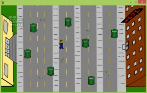 In pixelated style, several streets run vertically across the screen. There are green cars on some of the lanes. A white male with brown hair and a green shirt is crossing the street.