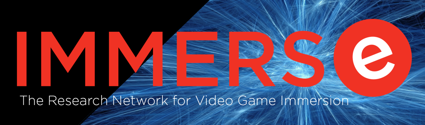 "A black field with blue starburst in the background. In red letters: ""IMMERSe."" In white text: ""Research Network for Video Game Immersion"""