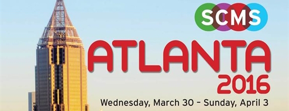 """Text reads,"""" SCMS Atlanta 2016, Wednesday, March 30 - Sunday, April 3."""" There is a building from downtown Atlanta in the background."""