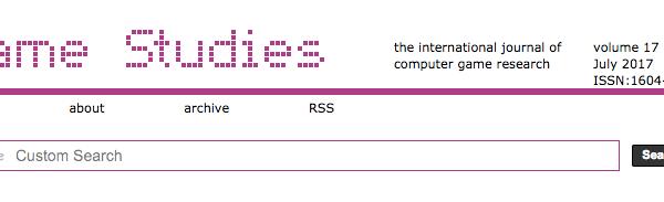 Game Studies website header
