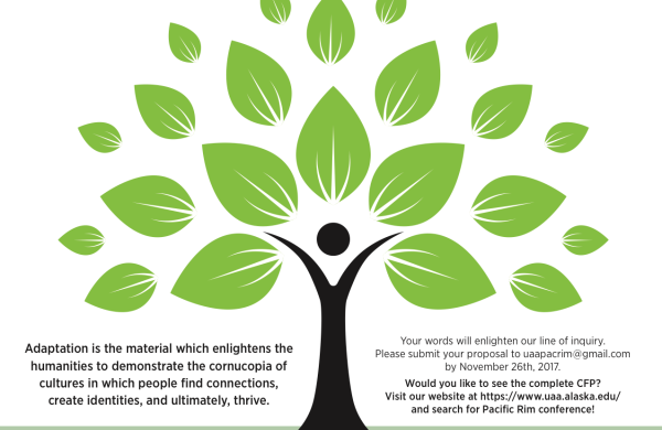 Conference poster for the 2018 Pacific Rim Conference, feature an image of a tree with a trunk that looks like a human figure. The two keynotes, Amanda Phillips and Emily Madsen, are featured with headshots at the bottom of the poster. Relevant conference information is included in the blog text.