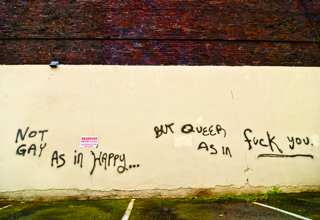 "Photograph of a white wall with graffiti that reads ""Not gay as in happy... but Queer as in fuck you."" Image credit: Michael Holden, http://michaelholden.com; flickr link: https://www.flickr.com/photos/michaelholden/4494481572"